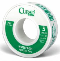 First Aid Tape, White, Waterproof Yes, Plastic, 1/2 in Width, 5 yd Length, Adhesive Yes