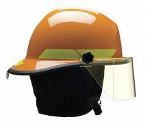 Orange Fire Helmet, Shell Material: Fiberglass, 6-Point Sure-Lock(R) Ratchet Suspension, Fits Hat Si